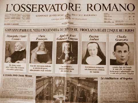 Osservatore romano beatificazione fra claudio granzotto